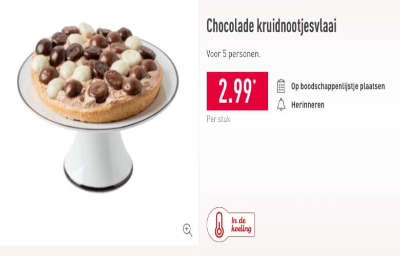 aldi chocolade kruidnotenvlaai